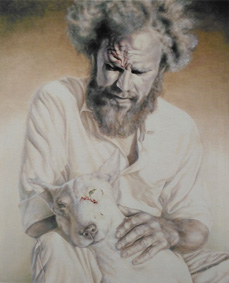 'Iain and his dog' June 1980 810 x 650 mm Oil on gesso board