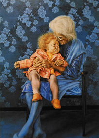'Urgent Embrace' Oct 1983 680 x 500 mm Oil on gesso board
